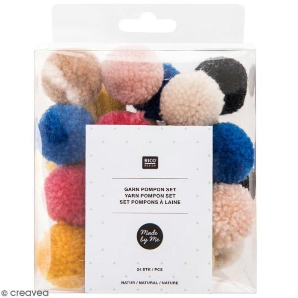 Assortiment de pompons ronds - Multicolore naturel - 3 cm - 24 pcs - Photo n°1