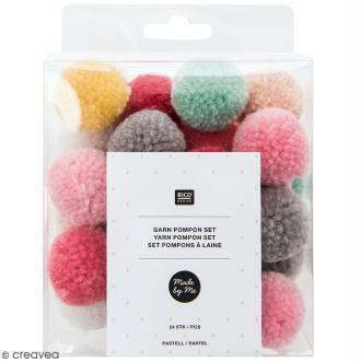 Assortiment de pompons ronds - Pastel - 3 cm - 24 pcs