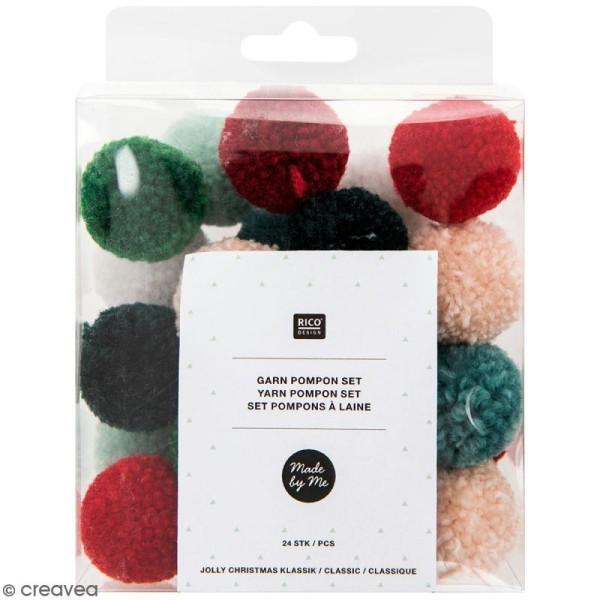Assortiment de pompons ronds - Noël - 3 cm - 24 pcs - Photo n°1