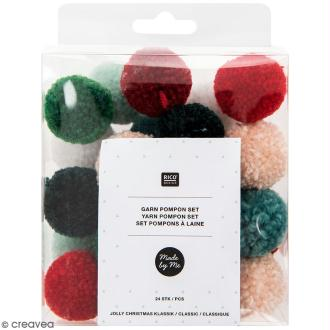 Assortiment de pompons ronds - Noël - 3 cm - 24 pcs