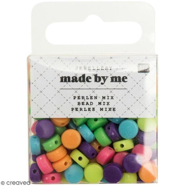 Assortiment de perles rondes en plastique - Multicolore - Environ 165 pcs - Photo n°1