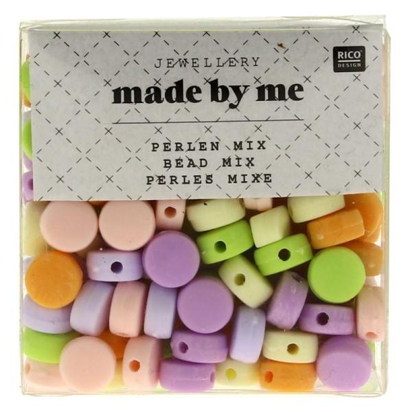 Assortiment de perles rondes en plastique - Pastel - Environ 165 pcs - Photo n°1