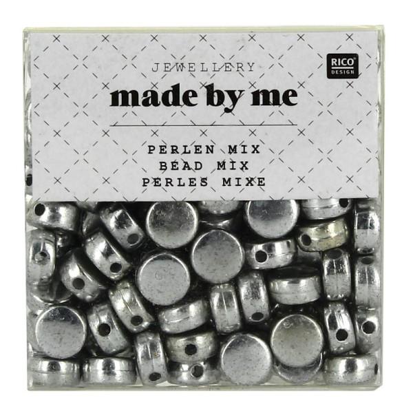 Assortiment de perles rondes en plastique - Argenté - Environ 165 pcs - Photo n°1