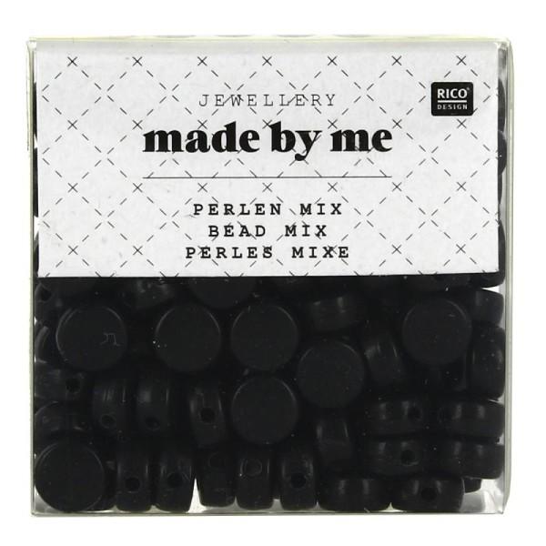 Assortiment de perles rondes en plastique - Noir - Environ 165 pcs - Photo n°1