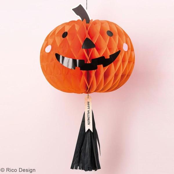 Lampion Halloween en papier avec Pompon - Citrouille - 1 pce - Photo n°2
