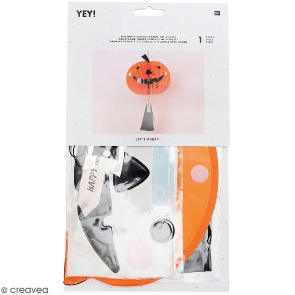 Lampion Halloween en papier avec Pompon - Citrouille - 1 pce - Photo n°1