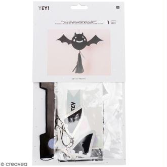 Lampion Halloween en papier avec Pompon - Chauve-souris - 1 pce