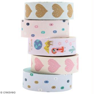 Set de masking tape - Travel the world - 1,5 cm x 10 m - 5 pcs