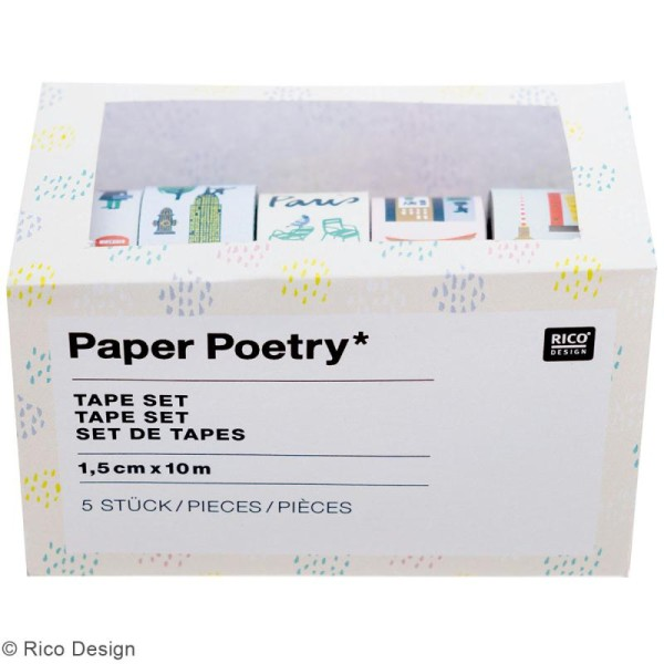 Set de masking tape - Villes du monde - 1,5 cm x 10 m - 5 pcs - Photo n°2