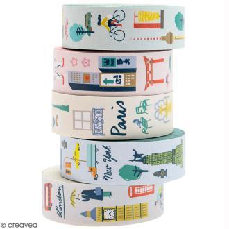 Set de masking tape - Villes du monde - 1,5 cm x 10 m - 5 pcs