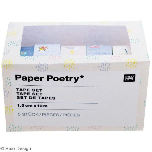 Set de masking tape - Bord de mer - 1,5 cm x 10 m - 5 pcs - Photo n°2