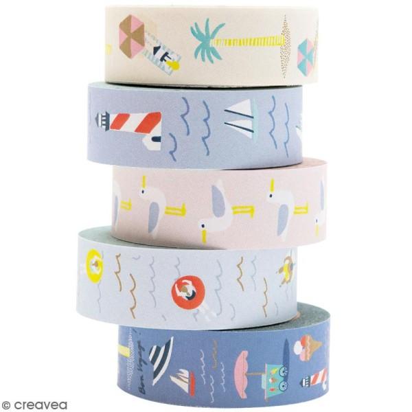 Set de masking tape - Bord de mer - 1,5 cm x 10 m - 5 pcs - Photo n°1