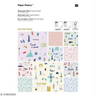 Bloc papier scrap A4 à motif - Hot foilGold - Travel the world - 40 feuilles