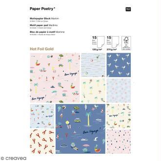 Bloc papier scrap A4 à motif - Hot foilGold - Bord de mer - 40 feuilles