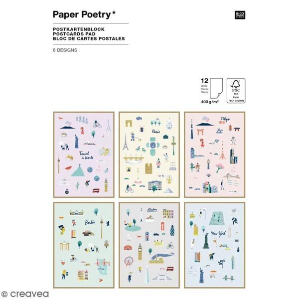 Set cartes postales - Travel the world - 12,5 x 17,5 cm - 12 pcs - Photo n°1