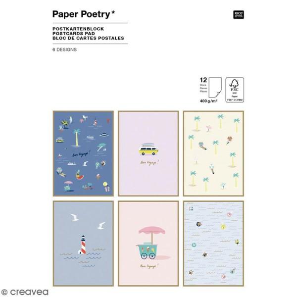 Set cartes postales - Bord de mer - 12,5 x 17,5 cm - 12 pcs - Photo n°1