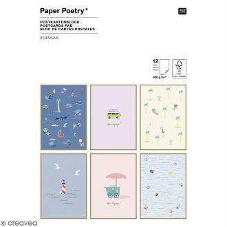 Set cartes postales - Bord de mer - 12,5 x 17,5 cm - 12 pcs