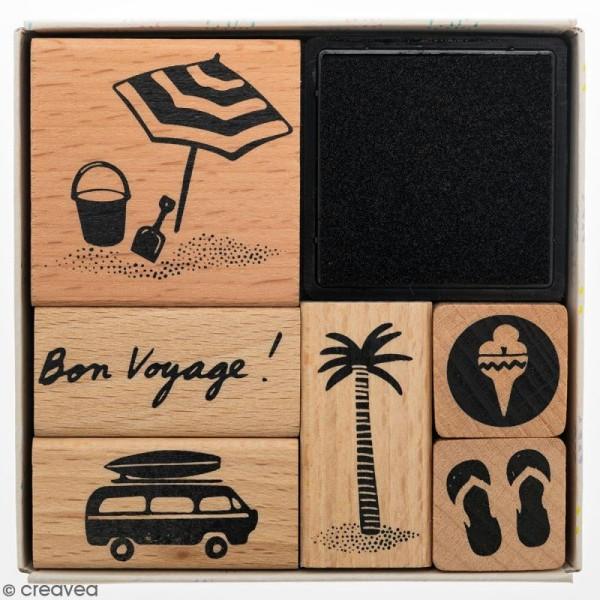 Set tampons Bon voyage - 6 tampons et 1 encreur - Photo n°1