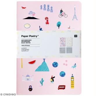 Petits carnets de notes A5 - Travel the world - 14,5 x 21 cm - 2 pcs