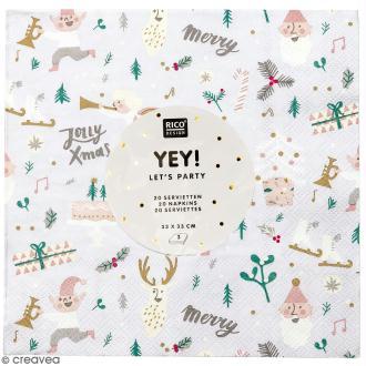 Serviettes en papier - Noël Blanc - 20 pcs