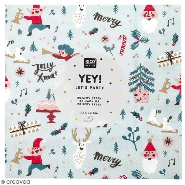 Serviettes en papier - Noël Rouge - 20 pcs - Photo n°1