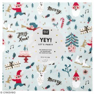 Serviettes en papier - Noël Rouge - 20 pcs