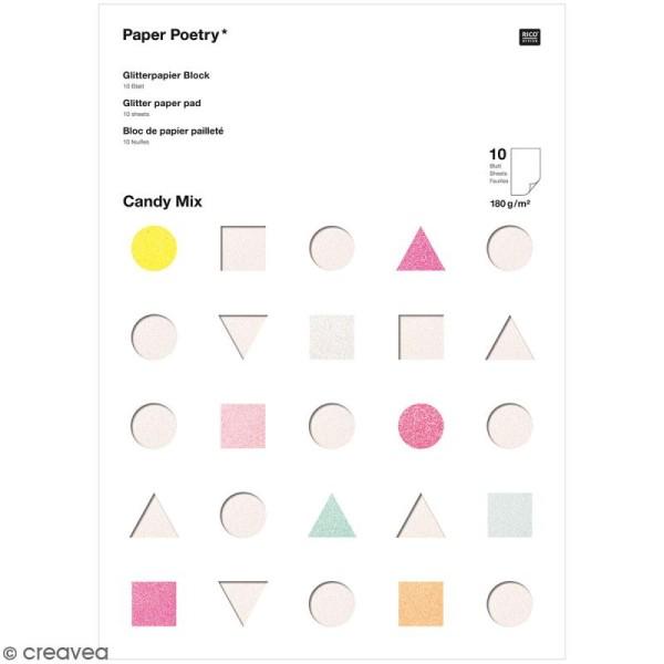 Bloc papier pailleté Candy - Pastel - 10 pcs - Photo n°1