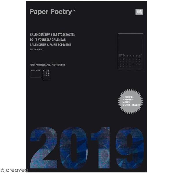 Calendrier 2019 Noir à décorer Paper Poetry - Format A3 - Photo n°1