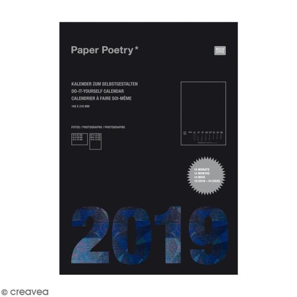 Calendrier 2019 Noir à décorer Paper Poetry - Format A5 - Photo n°1