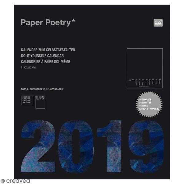 Calendrier 2019 Noir à décorer Paper Poetry - 21,5 x 24 cm - Photo n°1