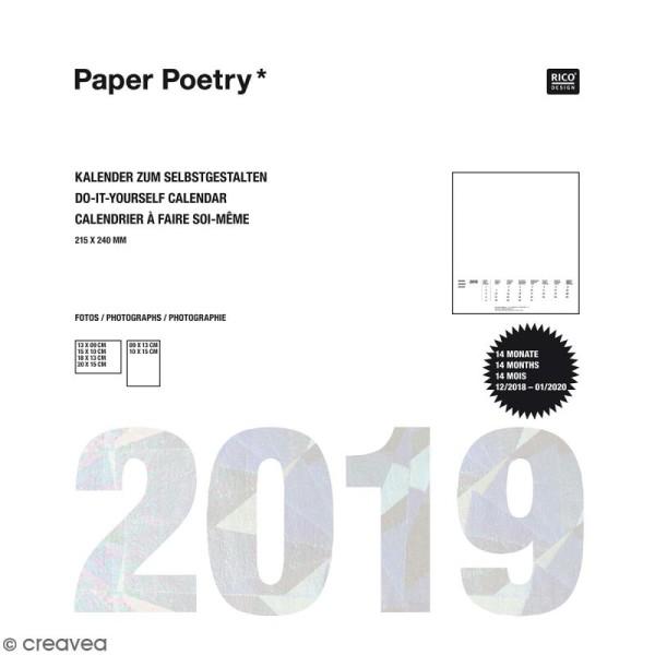 Calendrier 2019 Blanc à décorer Paper Poetry - 21,5 x 24 cm - Photo n°1