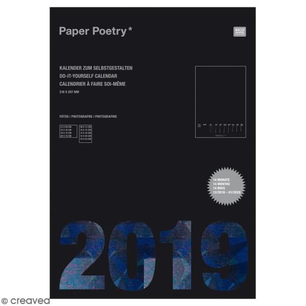 Calendrier 2019 Noir à décorer Paper Poetry - Format A4 - Photo n°1