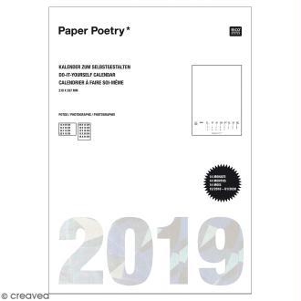 Calendrier 2019 Blanc à décorer Paper Poetry - Format A4