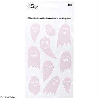 Stickers Pailletés Halloween Rico Design - Fantômes blancs - 10 pcs
