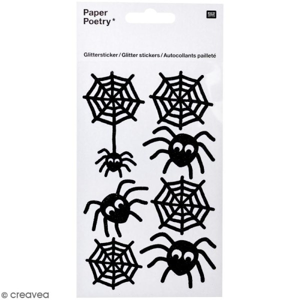 Stickers Pailletés Halloween Rico Design - Araignées - 7 pcs - Photo n°1
