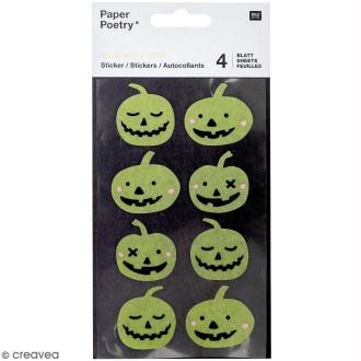 Stickers Papier Phosphorescent Rico Design - Citrouilles - 32 pcs
