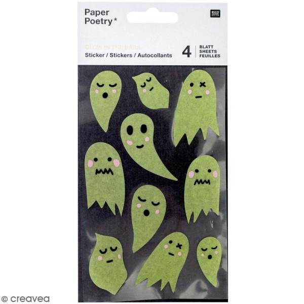 Stickers Papier Phosphorescent Rico Design - Fantômes - 40 pcs - Photo n°1