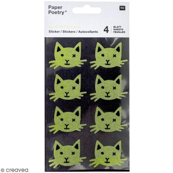 Stickers Papier Phosphorescent Rico Design - Chats noirs - 32 pcs - Photo n°1