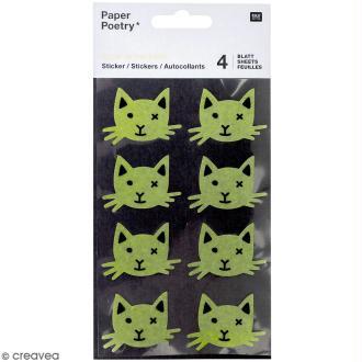 Stickers Papier Phosphorescent Rico Design - Chats noirs - 32 pcs