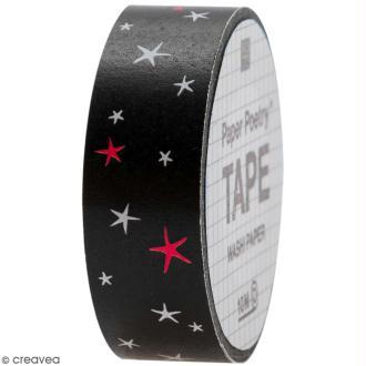 Masking tape - Etoiles sur fond noir - 1,5 cm x 10 m