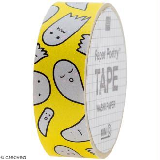 Masking tape - Fantômes sur fond jaune - 1,5 cm x 10 m