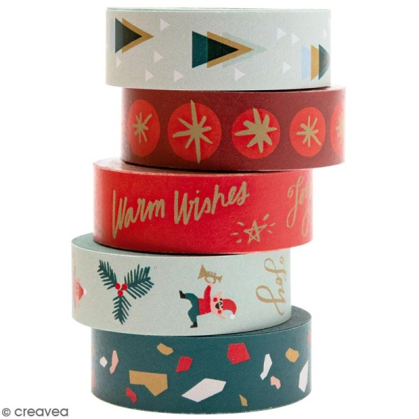 Set de masking tape - Noël Classique - 1,5 cm x 10 m - 5 pcs - Photo n°1