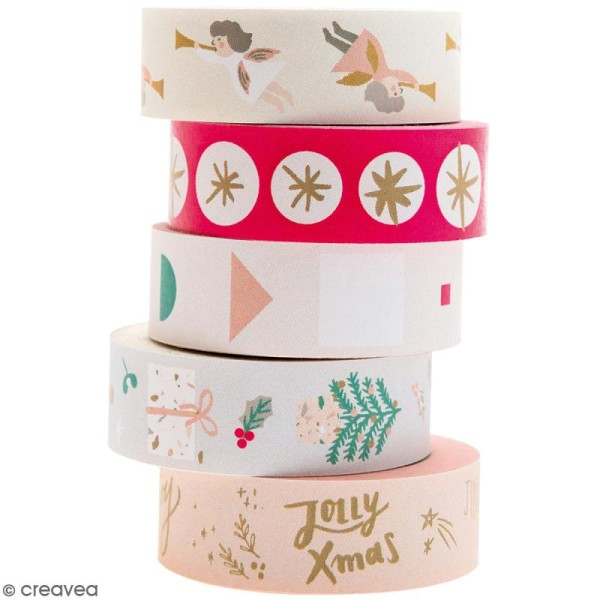 Set de masking tape - Noël Pastel - 1,5 cm x 10 m - 5 pcs - Photo n°1