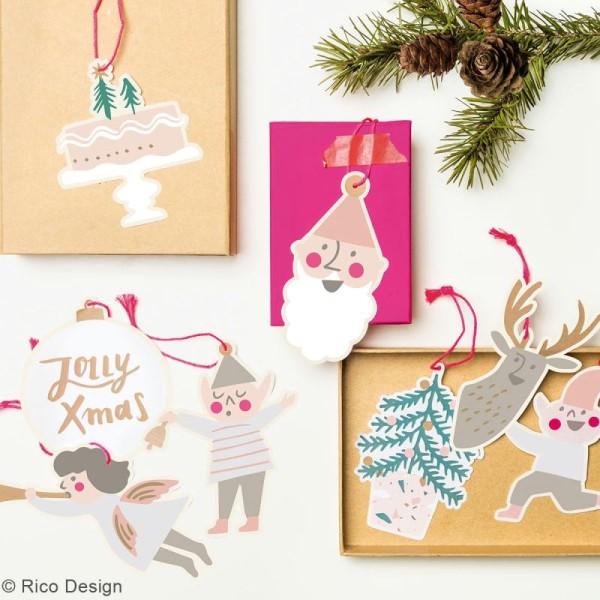 Etiquettes cadeaux - Noël Pastel - 5 cm - 8 pcs - Photo n°2
