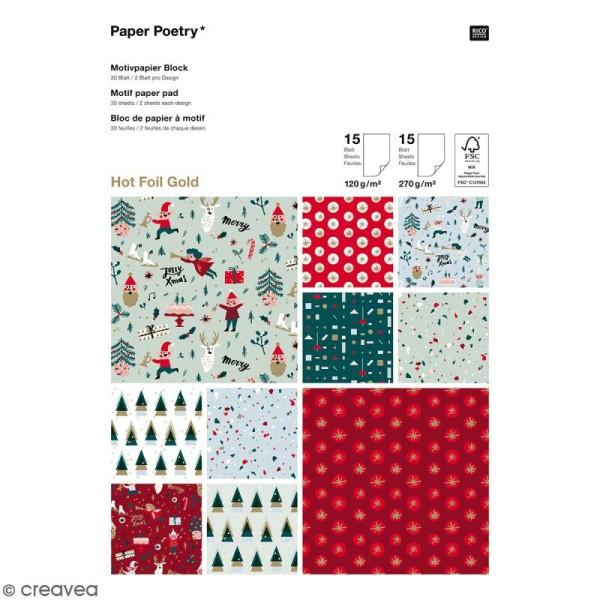 Bloc papier scrap A4 à motif - Hot foilGold - Noël Classique - 30 feuilles - Photo n°1