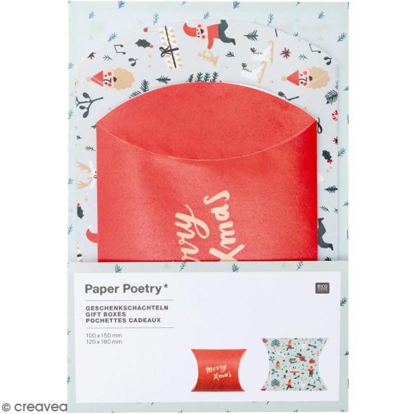 Lot de pochettes cadeaux - Noël Classique - 2 tailles - 6 pcs - Photo n°1