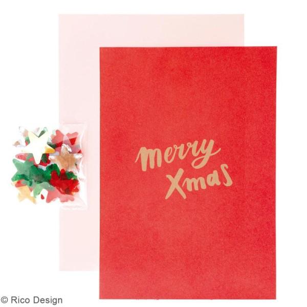 Kit carte à personnaliser - Rico Design Noël - Merry Xmas rouge - 12,5 x 17,5 cm - Photo n°2