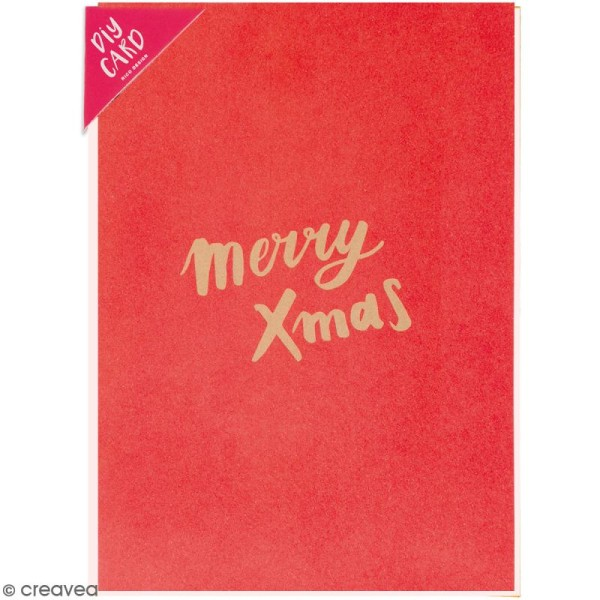 Kit carte à personnaliser - Rico Design Noël - Merry Xmas rouge - 12,5 x 17,5 cm - Photo n°1