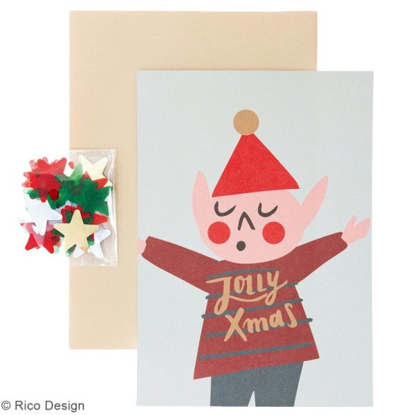 Kit carte à personnaliser - Rico Design Noël - Lutin de Noël - 12,5 x 17,5 cm - Photo n°2