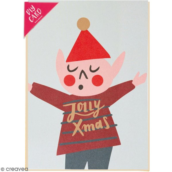 Kit carte à personnaliser - Rico Design Noël - Lutin de Noël - 12,5 x 17,5 cm - Photo n°1